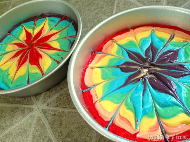 How to make a rainbow tye-die double layer cake {Reality Daydream}