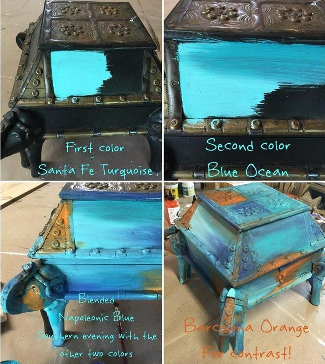 Layer the blues to create the 'Bermuda Blending' effect on furniture or ANYTHING!