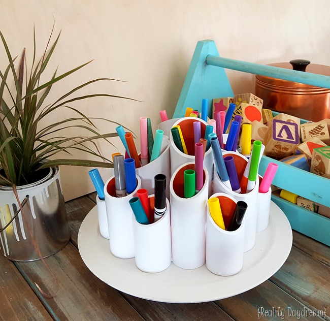 Make a Rotating Craft Caddy using PVC pipes and a lazy susan! {Reality Daydream}