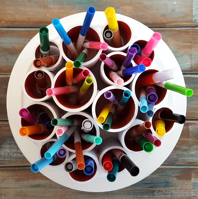 Make a darling ROTATING Craft Caddy... using PVC pipes and a lazy susan! {Reality Daydream}