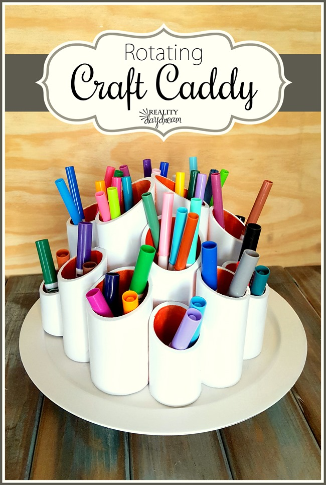 Rotating Craft Caddy... using PVC pipes and a lazy susan! {Reality Daydream}