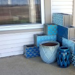 Stenciled Cinder Block Corner Planter