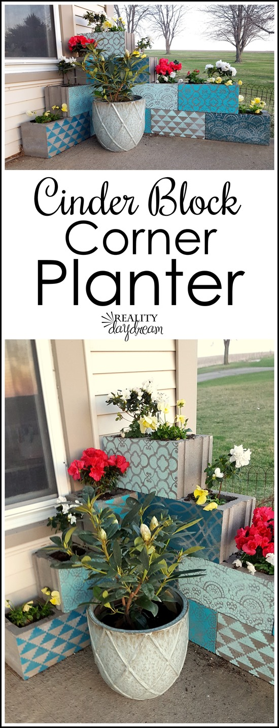 Stencil onto Cinder Blocks for a Unique and colorful Corner Planter!