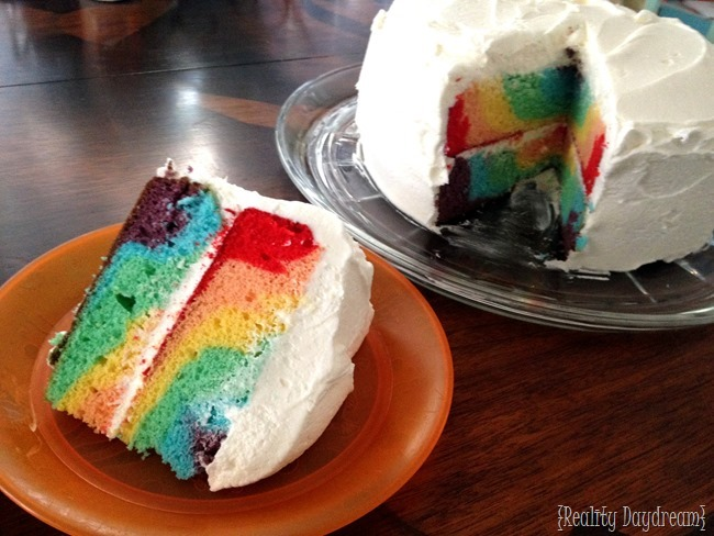 Swirly rainbow double-layer cake {Reality Daydream}