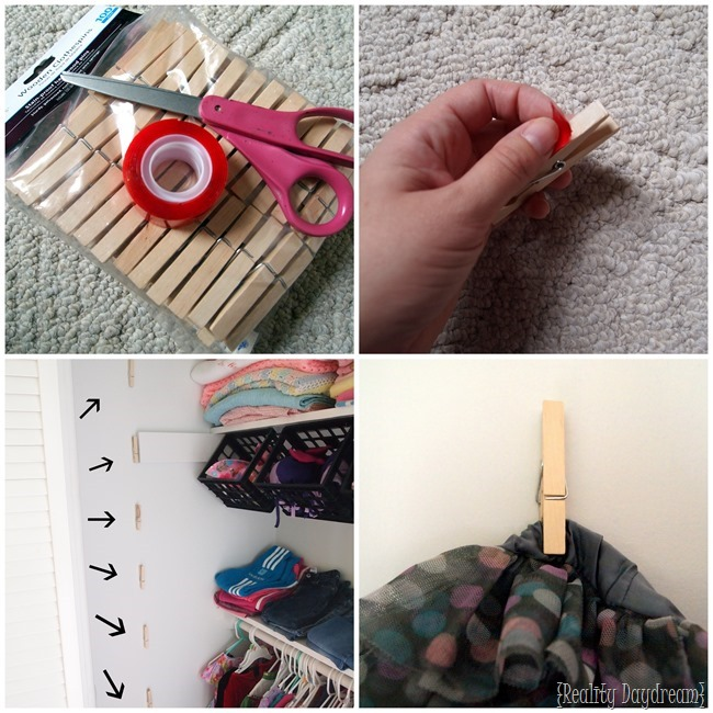 Children's closet organization using CLOTHESPINS! - Reality Daydream