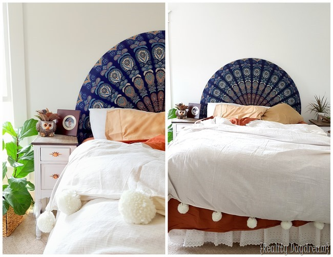 Easiest Headboard EVER... Use a round beach throw to upholster a half-curcle headboard! {Reality Daydream}