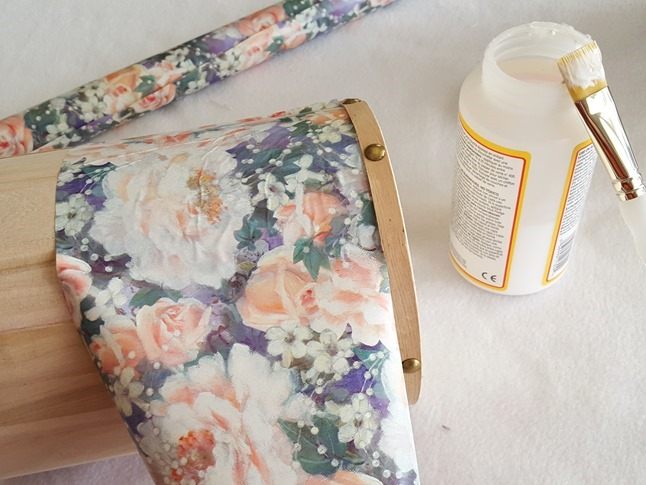 Mod Podge to affix vintage wrapping paper to the unfinished trinket box {Reality Daydream}