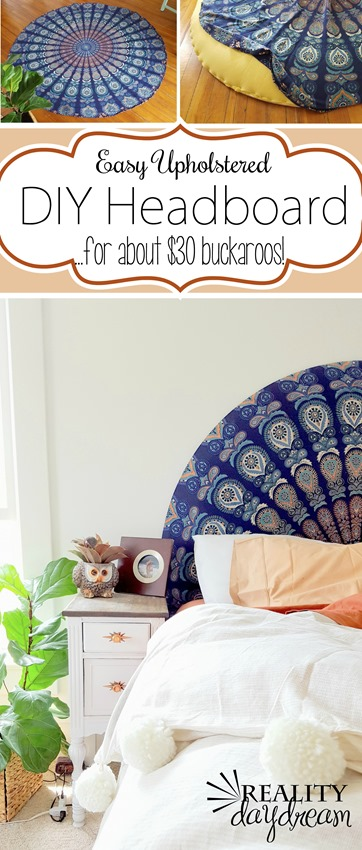 SUPER SIMPLE upholstered headboard using a round tapestry! {Reality Daydream} #boho #bedroom.jpg