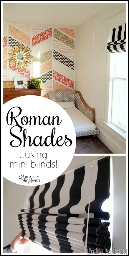 Simple instructions for making a fabric Roman Shade usinging your existing mini blinds!