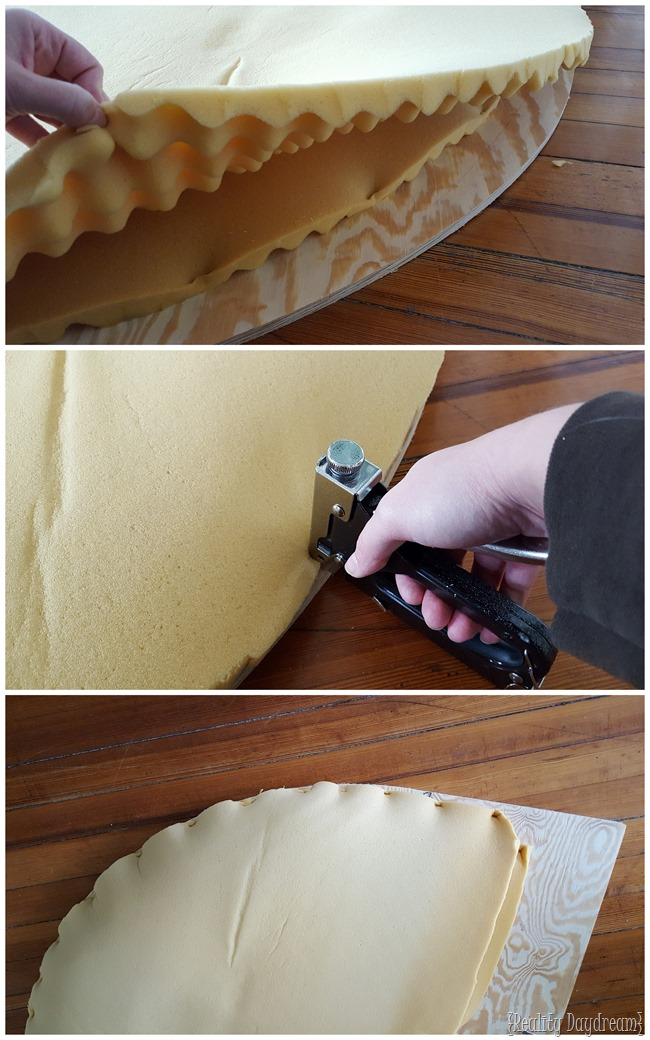 Simple instructions on how to upholster a round headboard {Reality Daydream} (2)