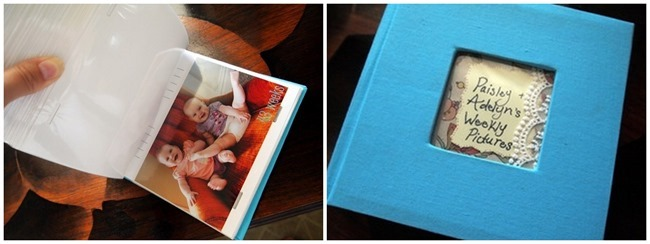 Take pictures each week or moth of your baby's first year, and print the pics in a photo album {Reality Daydream}