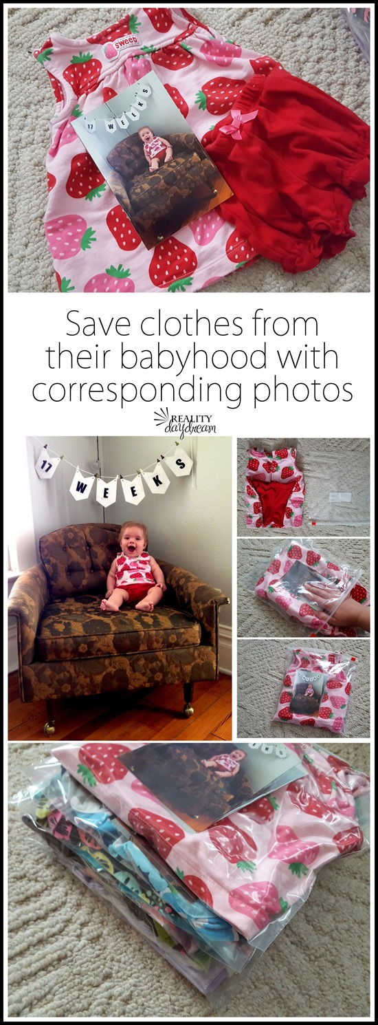 Take pictures of your baby each week or month of their first year of life, then print the pictures and put them with the corresponding outfits to save and pass down to them one day! {Reality Daydream}