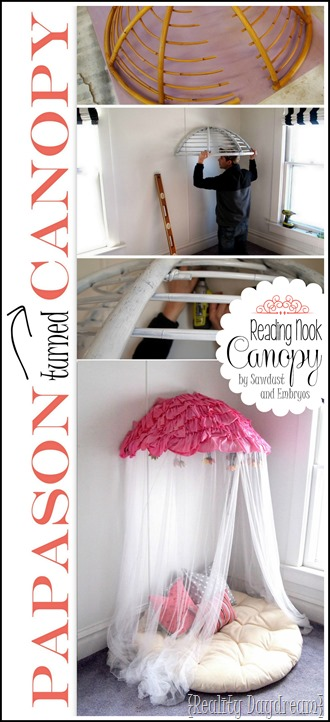Turn an old papasan chair into a cozy reading nook canopy! This could easily be modified for a boy too! {Reality Daydream}