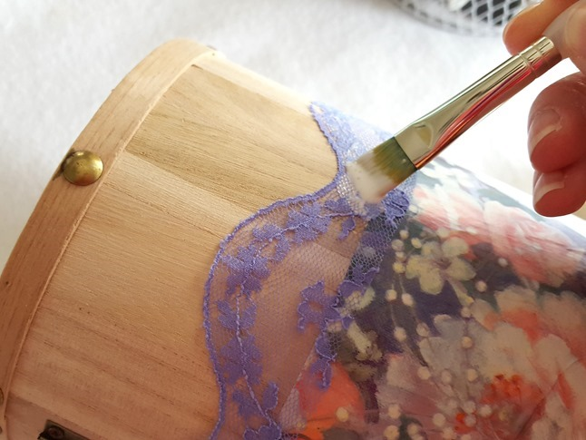 Using Mod Podge to add wrapping paper and lace to an undinished wooden trinket box! {Reality Daydream}