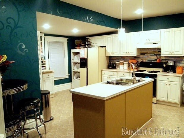Kitchen with Glossy Swirls and Painted Backsplash {Sawdust and Embryos}_thumb