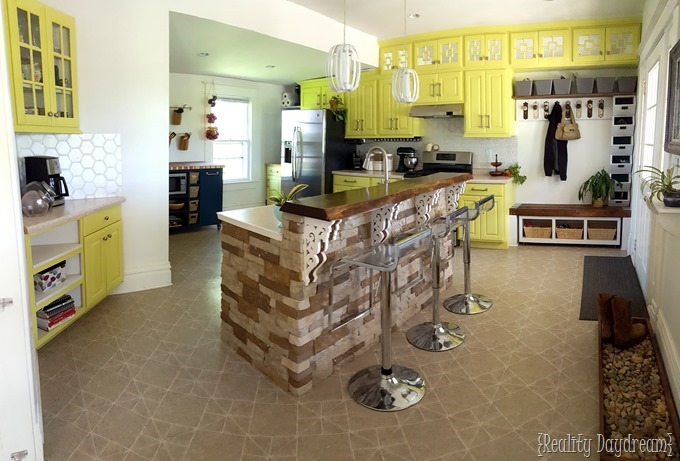 Pano pic of our kitchen reveal! {Reality Daydream}