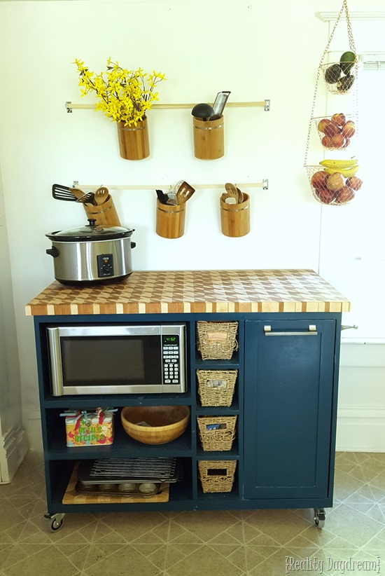 Rolling Kitchen Island and Microwave Cart {Reality Daydream}