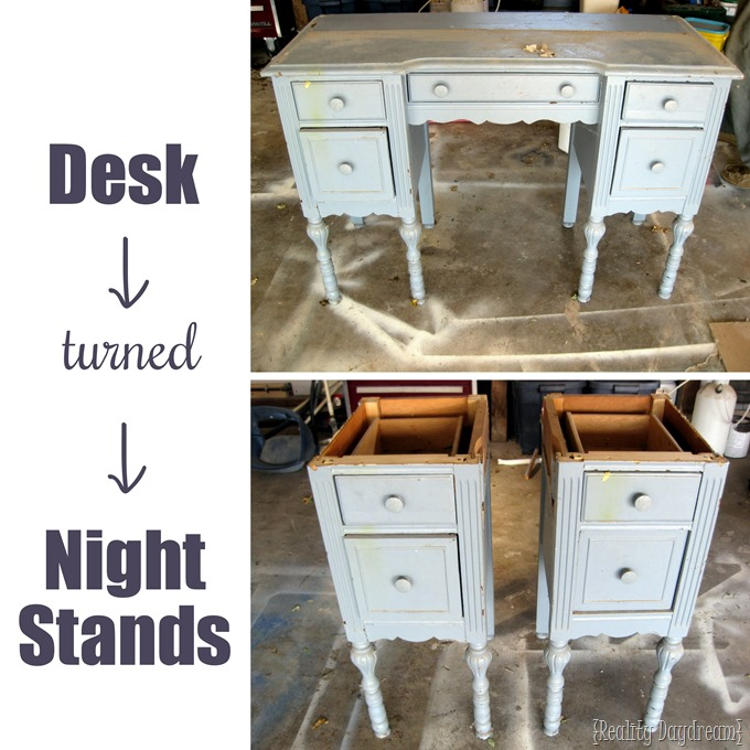 Take an old desk and chop it in half to make two identical and unique night stands!