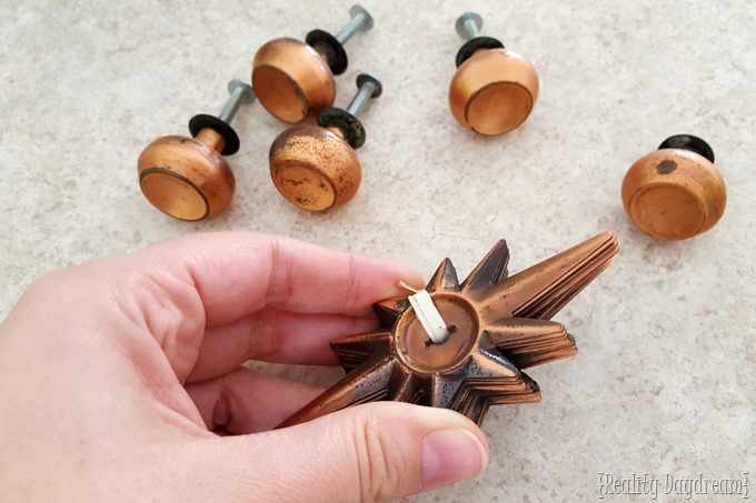 Vintage Copper Starburst Plate Knobs {Reality Daydream} #pulls #hardware #antiques