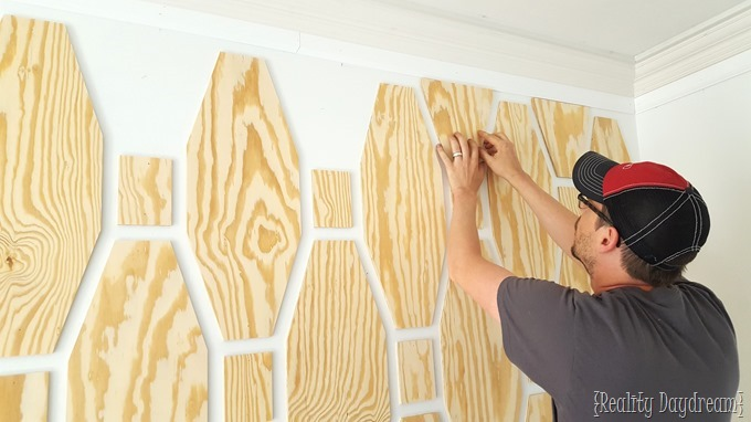 Geometric Pattern Plywood Accent Wall Reality Daydream