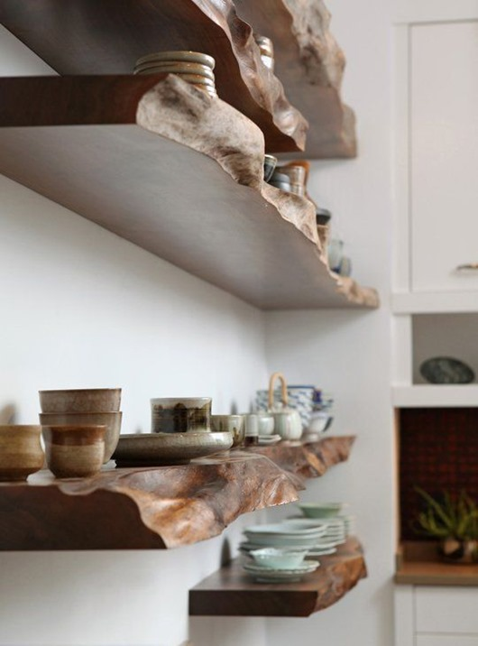 Beautiful use of live edge elements in interior design