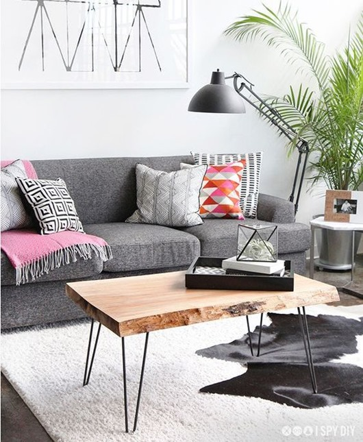 Gorgeous Ways To Incorporate Scandinavian Designs Into: DIY Live Edge Coffee Table And Unique Live Edge Elements