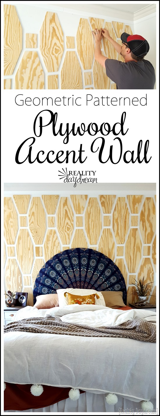 Learn how to make and install this Geometric Plywood Accent Wall! {Reality Daydream}