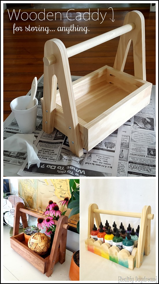 Make this simple wooden caddy! Could be used for SO many different things! FREE BUILDING PLANS {Reality Daydream} #organization #storage