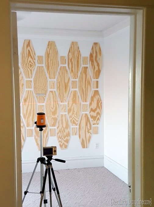 Put up a plywood wall treatment for an unexpected accent wall! {Reality Daydream}