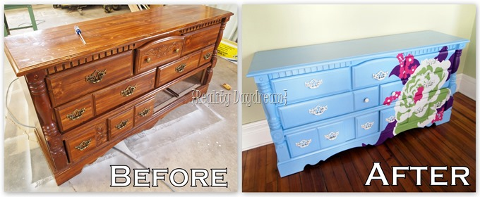 AMAZING transformation of a clunky old dresser! Click through for the step-by-step tutorial {Reality Daydream}