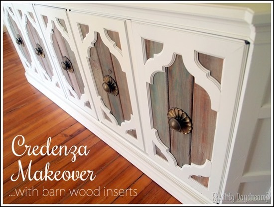Credenza makeover... using DIY 'barn wood' inserts! Tutorial here... Reality Daydream