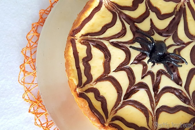 Halloween Cheesecake with Chocolate Spiderweb baked in! {Reality Daydream}