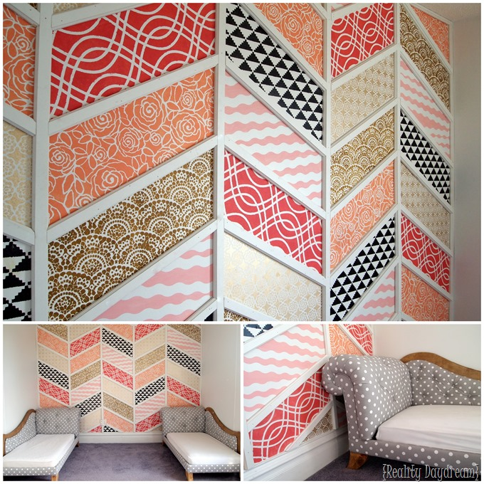 Patchwork Herringbone Stenciled Accent Wall... step-by-step tutorial! {Reality Daydream} #accent #wall