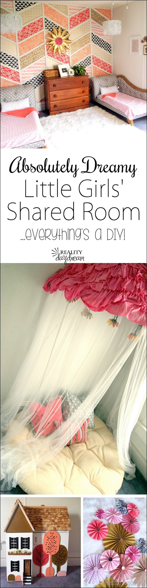 So many unique DIY projects make up this gorgeous little girls' room reveal! {Reality Daydream}