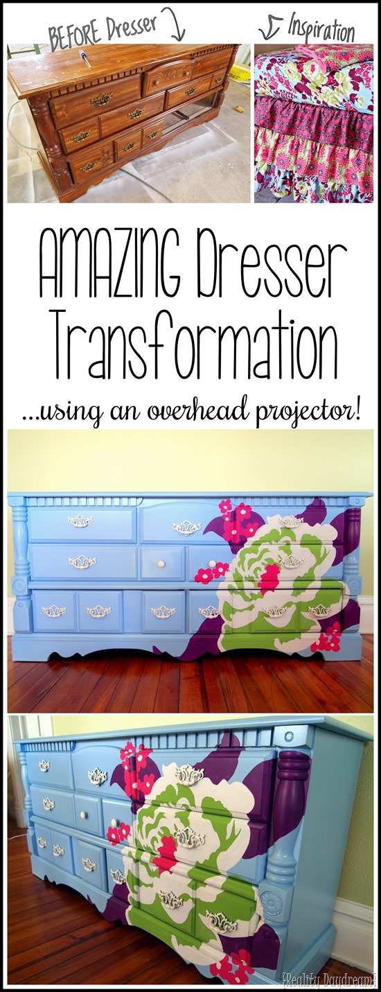 Transform ANY OLD clunky dresser into something beautiful by projecting a pattern or design using an overhead projector, and then tracing and painting! Tutorial... {Reality Daydream}