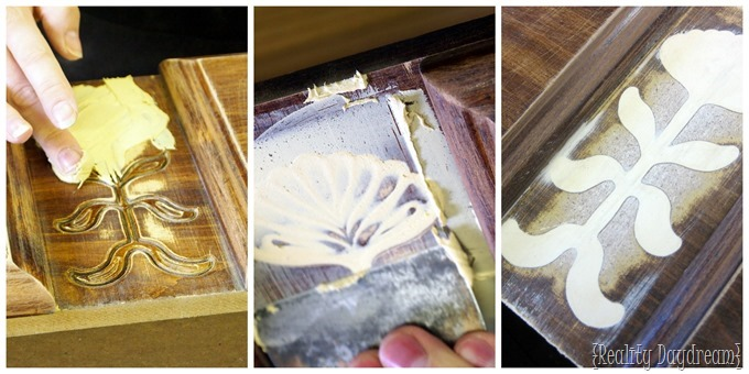 Use wood filler to get rid of those ugly out-dated carvings {Reality Daydream}