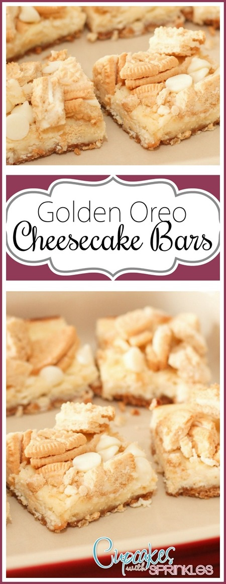 Cheesecake Bars with Golden Oreo Chunks! YUM!