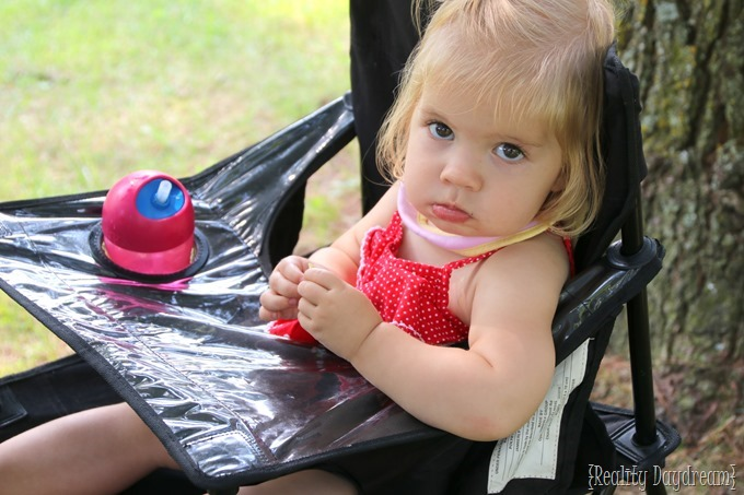 Cypress in her camping high chair {Reality Daydream}