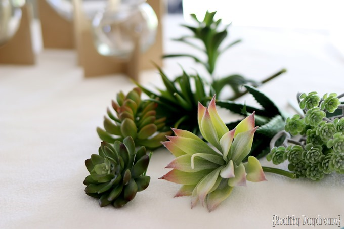Faux Succulents for these DIY Cross Base Terrariums! {Reality Daydream}