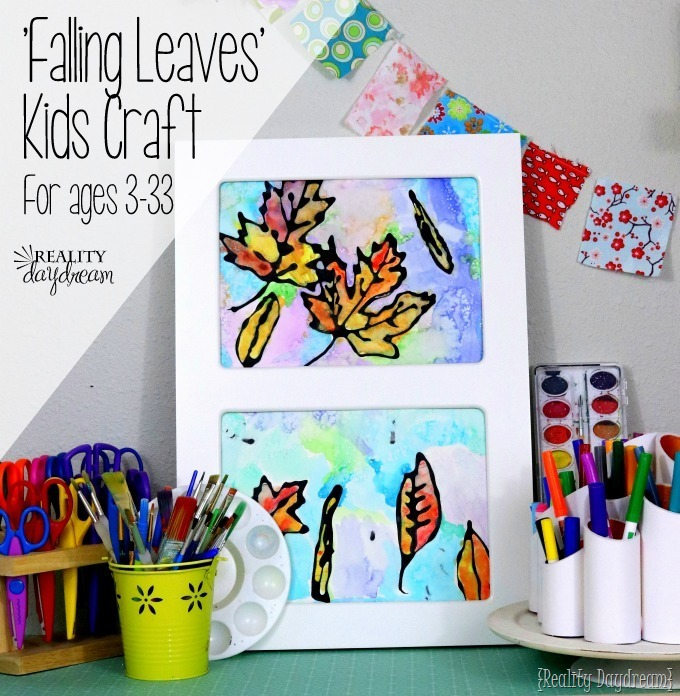 Fun watercolor craft idea for kids... using black glue, watercolor paint, and salt!! {Reality Daydream}