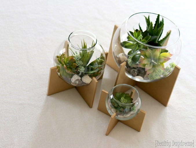 Learn how to make these Cross-Base Terrariums... with FAKE Succulents! {Reality Daydream}
