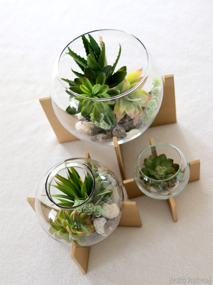 Make these darling Cross Base Terrariums with this simple tutorial! {Reality Daydream}