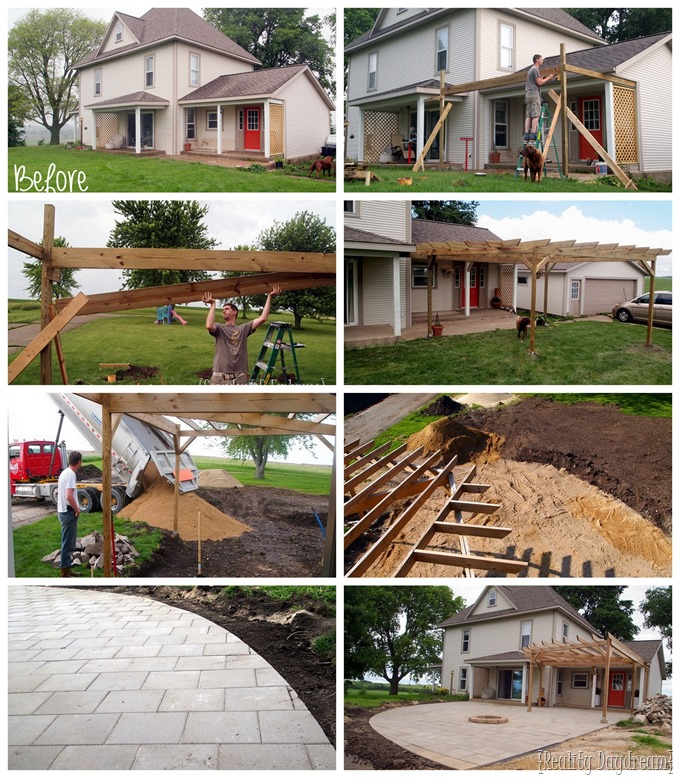 Progression of building a pergola and adding a patio {Reality Daydream}