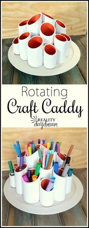Rotating marker caddy using PVC pipes and a lazy susan! {Reality Daydream}