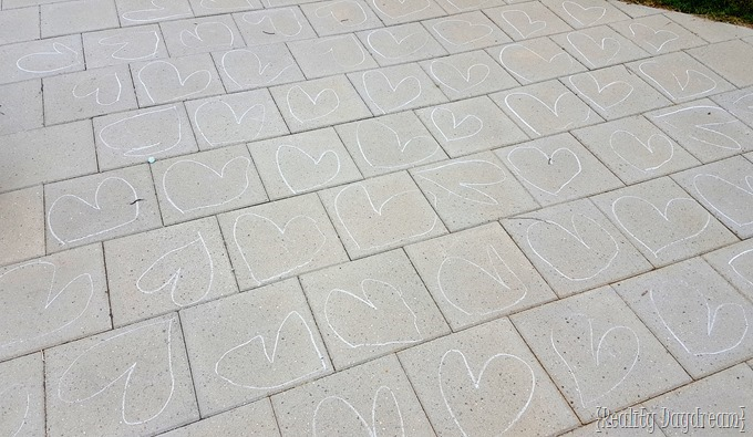 Sidewalk Chalk Hearts on the Patio