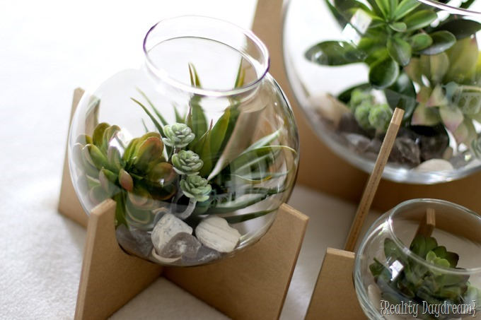 Step-by-step tutorial to make these darling Cross Base Terrariums with Faux Succulents!! {Reality Daydream}