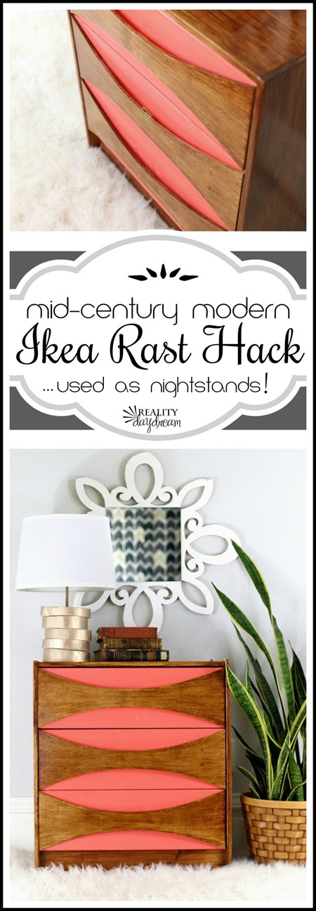 TUTORIAL for these Mid-Century Modern IKEA Rast Hack Dressers... used as night stands! {Reality Daydream}