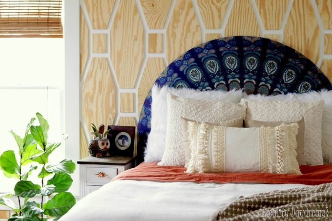 Boho Master Bedroom makeover with a tutorial for this macrame fringe pillow!