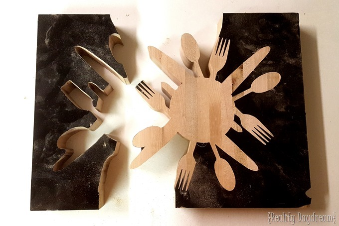 Cut a 'utensil' trivet out of a little slab of butcher block {Reality Daydream}