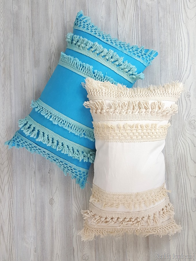 macrame fringe pillow cover tutorial using tassel trim! Making Cushions and Pillows